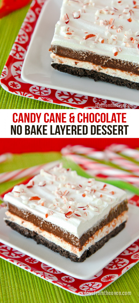 No Bake Chocolate Candy Cane Dessert