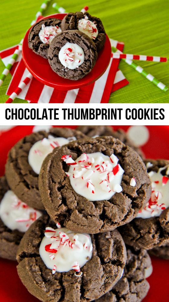 Chocolate Thumbprint Cookies With A Peppermint Bark Center