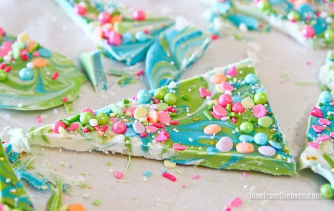 Katherine Sabbath inspired chocolate bark for a unicorn cake.