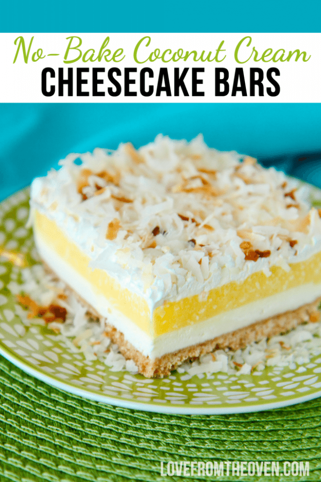 No Bake Coconut Cream Cheesecake Bars