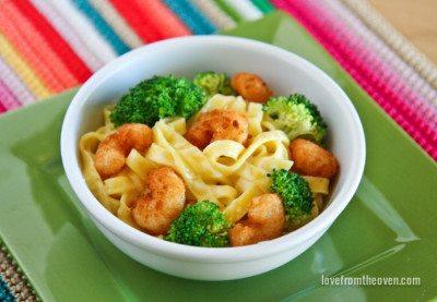 Popcorn Shrimp Alfredo
