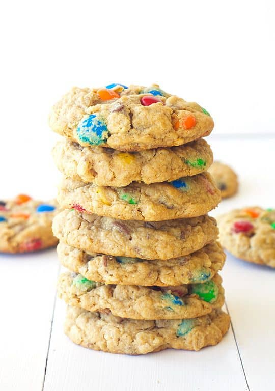 A stack of monster cookies