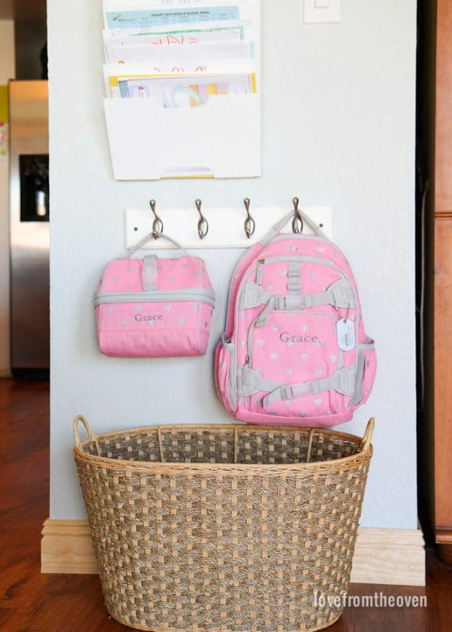 Backpack and lunchbox organization