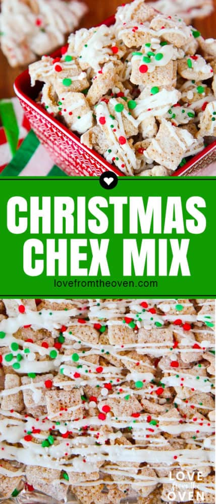 Several images of Christmas chex mix
