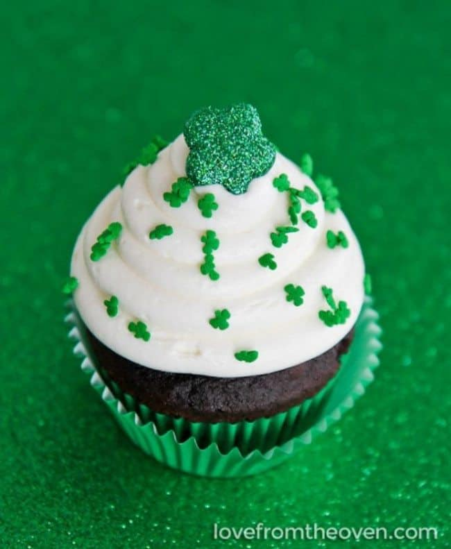 St. Patrick's Day Cupcakes Mint Chocolate With White Chocolate Frosting