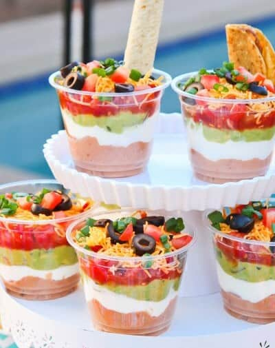 Easy Cinco De Mayo Snacks - Seven Layer Dip Cups