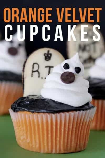 Orange Velvet Cupcakes topped with ghosts