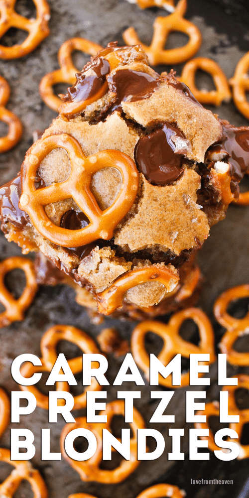 Caramel Pretzel Blondies