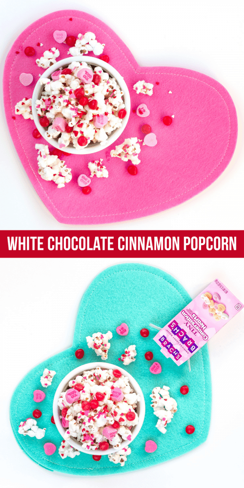 White Chocolate Cinnamon Sweetheart Valentine Popcorn