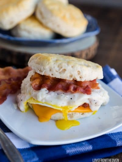 Biscuit And Gravy Breakfast Sandwiches