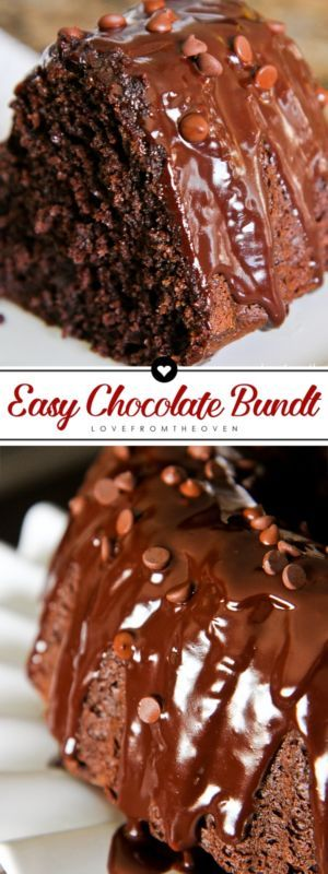 Photos of a chocolate Bundt Cake, topped with chocolate ganache and chocolate chips. A slice is shown and a side view of the cake.