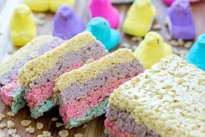 Layered Peeps Crispy Treats
