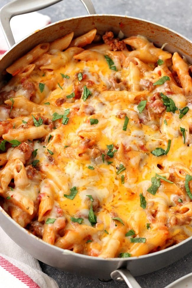 One Pot Cheesy Sausage Pasta