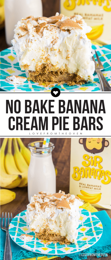 Easy No Bake Banana Cream Pie Bars