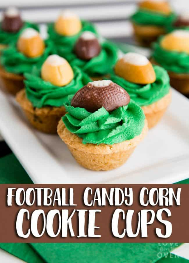 Football Candy Corn Cookie Cups