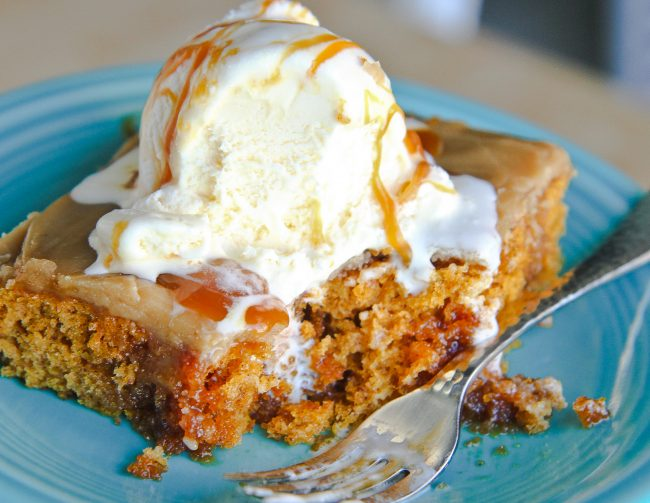 Pumpkin Poke Cake With Caramel