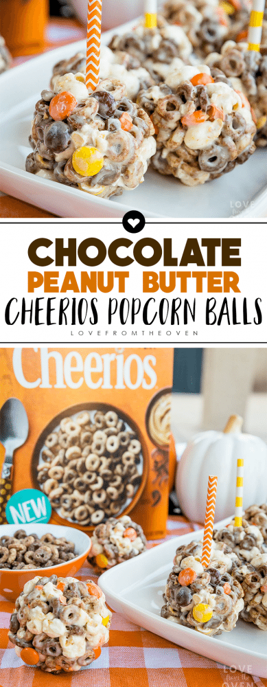 Chocolate Peanut Butter Cheerios Popcorn Balls by Love From The Oven