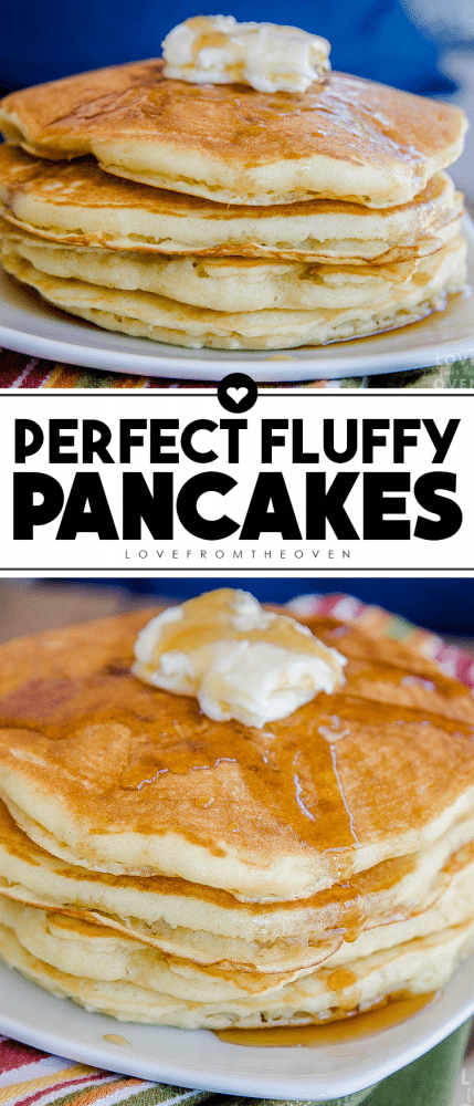 Pinterest pin for fluffy pancake recipe