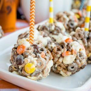 Chocolate Peanut Butter Popcorn Balls