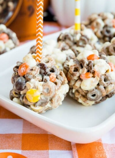 Chocolate Peanut Butter Cheerios Popcorn Balls