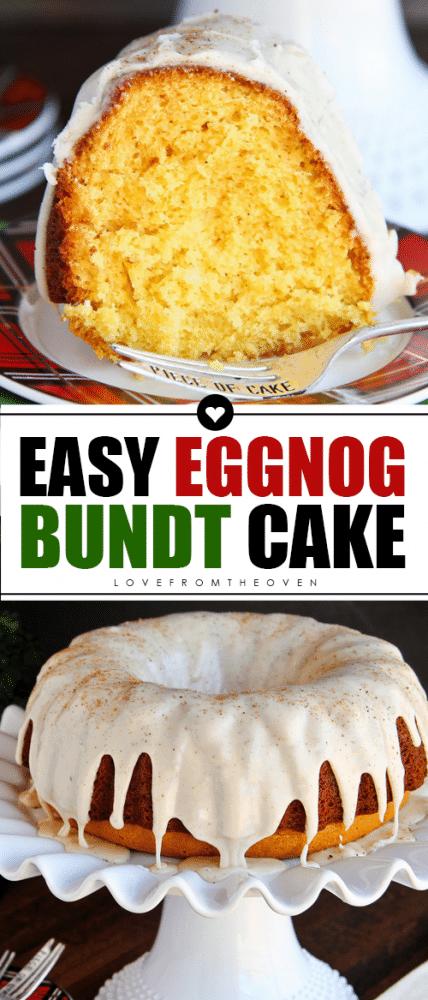 Easy Eggnog Cake #eggnogcake #eggnogrecipes #eggnogdesserts #christmascake