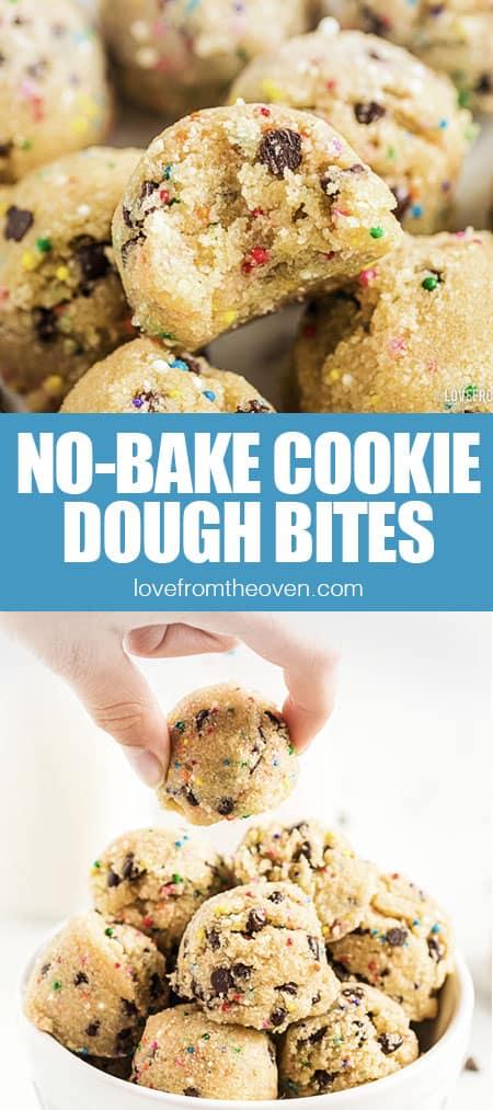 close up photos of cookie dough bites
