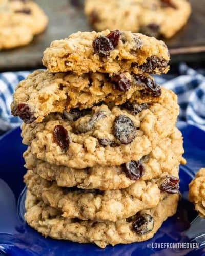 Stack of oatmeal cookies on a blue plate