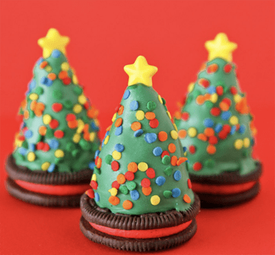 Three oreo truffle trees with a red background