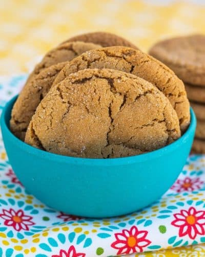 A bowl of soft ginger cookies