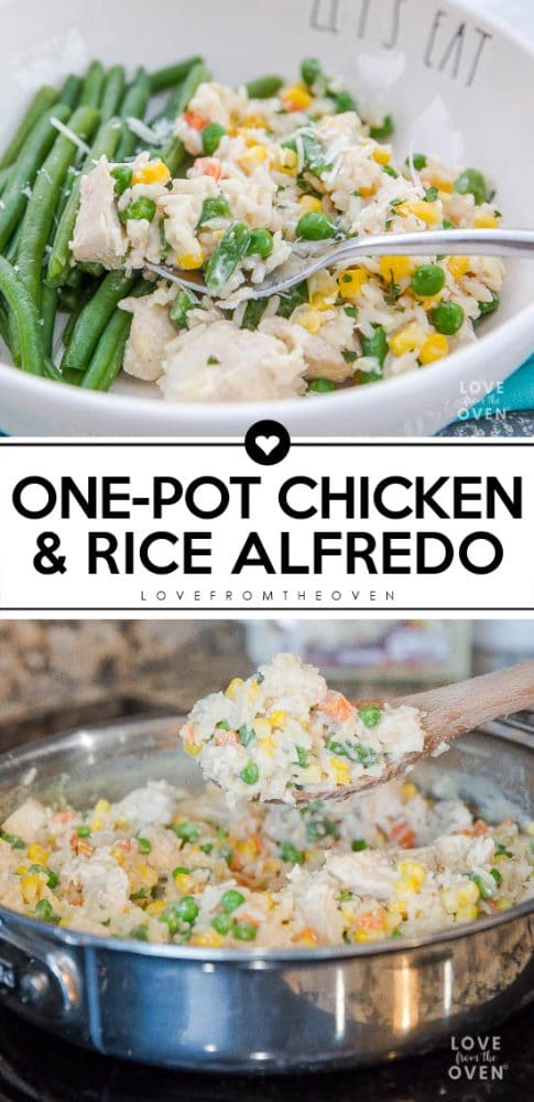 Easy One Pot Chicken And Rice Alfredo #easydinner #onepotmeals #onepotdinners #chickenandrice