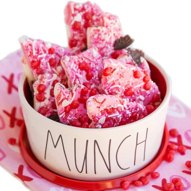 A bowl of valentine bark