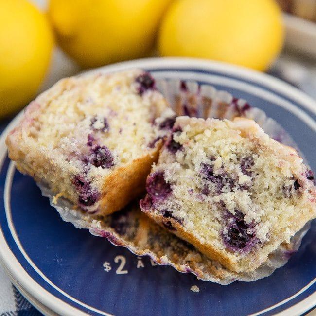 Lemon Blueberry Muffin Cut In Half