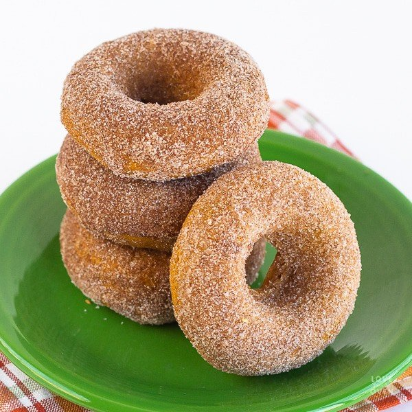 Stack of pumpkin donuts