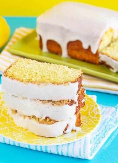 Slices of copycat Starbucks lemon loaf