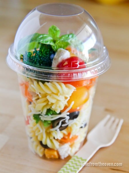 Pasta salad and vegetables in a cup