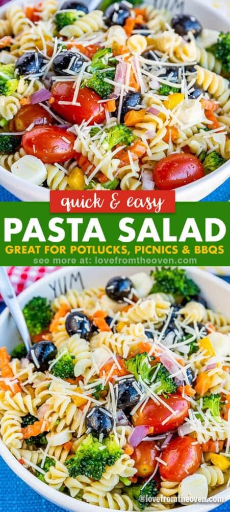 photos of a bowl of pasta salad