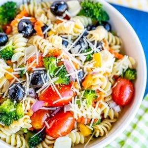 Bowl of pasta salad with tomatoes, olives, broccoli, carrots and cheese