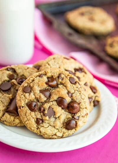 A pile of Chocolate chip cookies