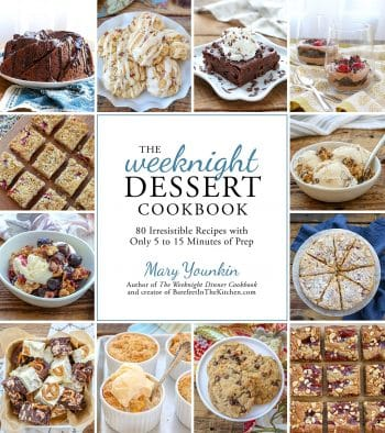 Cover of Weeknight Dessert Cookbook with photos of dessert recipes