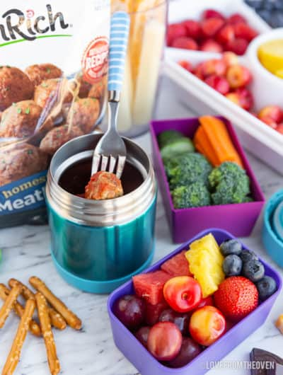 School lunch foods in different containers