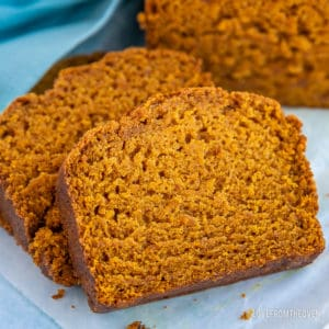 Sliced vegan pumpkin bread