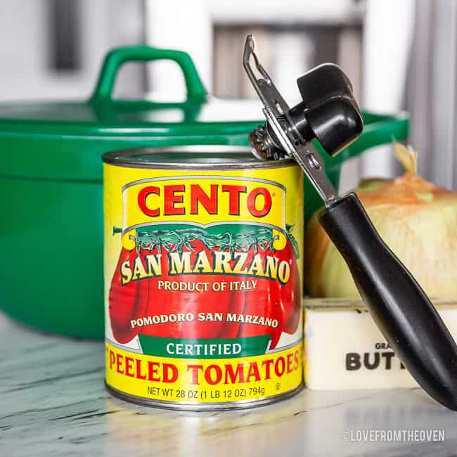 A close up of a can of tomatoes