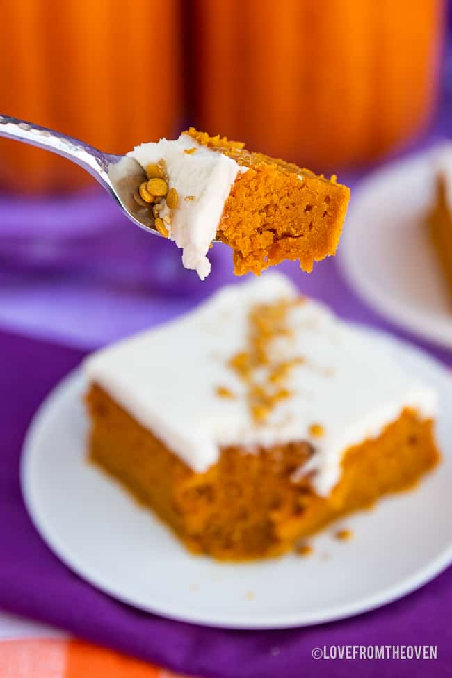 A bite of pumpkin bars with cream cheese frosting on a fork, with a blurry pumpkin bar on a plate in the background, with pumpkins behind it.