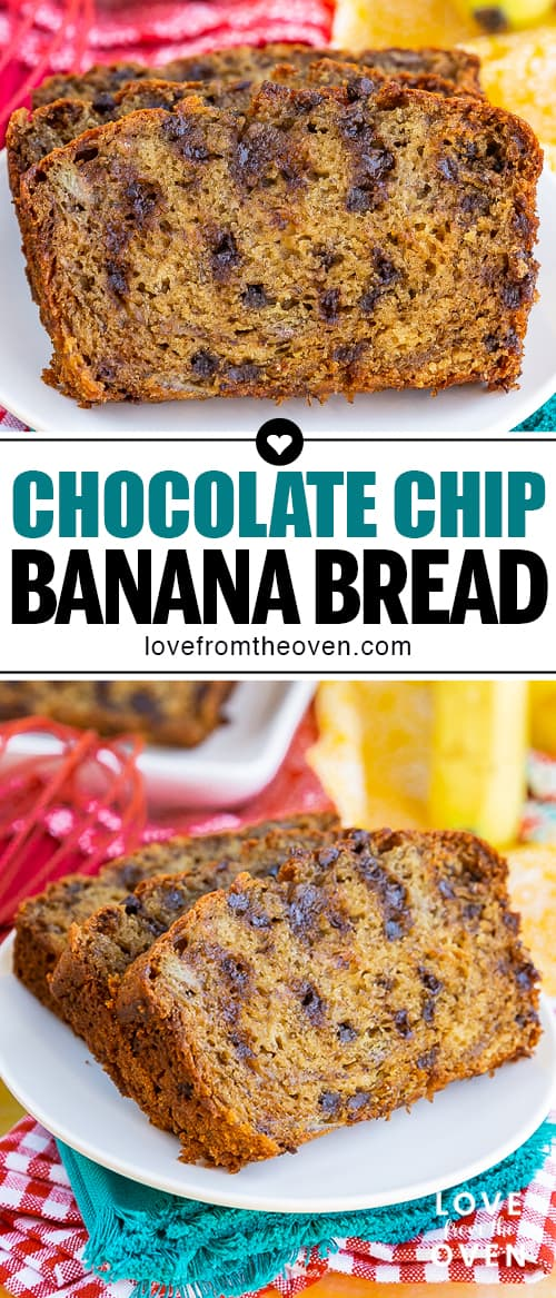 Several images of Sliced chocolate chip banana bread