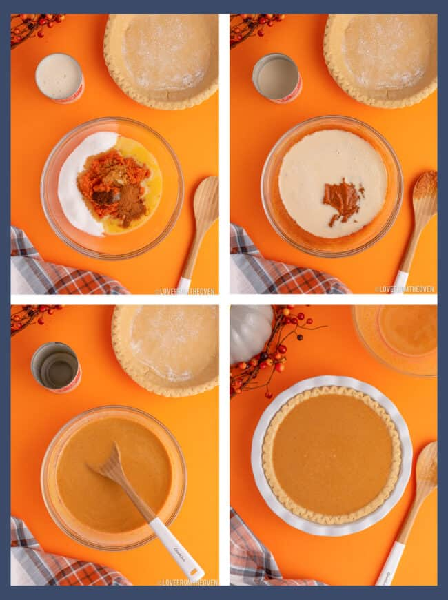 step by step photos showing how to make libbys pumpkin pie