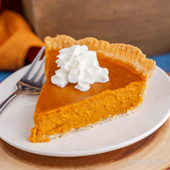 A slice of pumpkin pie