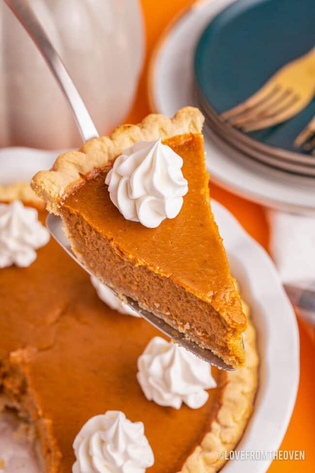 A slice of a pumpkin pie