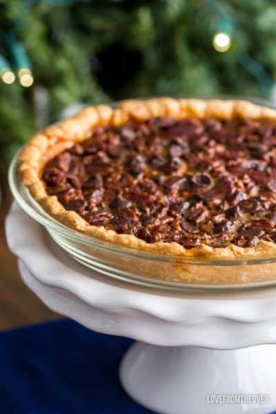 Pecan pie in a glass pie pan
