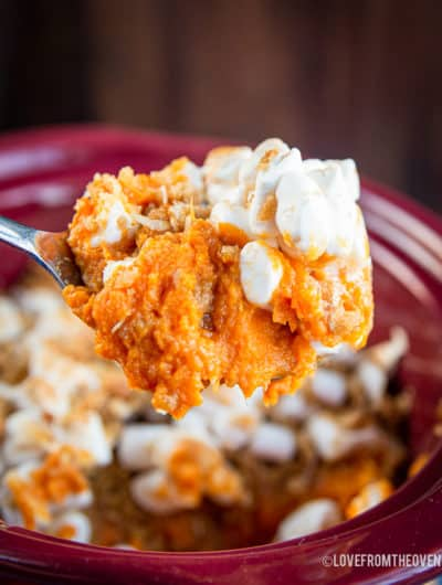 A spoonful of sweet potato casserole