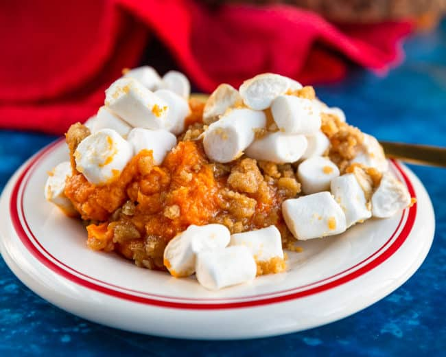 A plate of sweet potato casserole